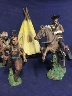 Emil Pfeiffer Pre Elastolin BUFFALO BILL and Indian Figures Wild West Toys Rare | eBay