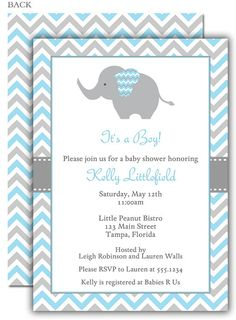 Chevron elephant yellow baby shower invitation pinterest grey chevron elephant blue baby shower invitation filmwisefo