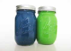 Blue and Green Mason Jars by TheCraftyEngineerx, $10.00