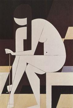 Γιάννης Μόραλης   Κορίτσι που λύνει το σανδάλι του (1973) Greek Art, Symbols, Cinnamon, Facebook, Canela, Glyphs, Icons