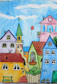 Sweet Town -  illustration by Dina Ali