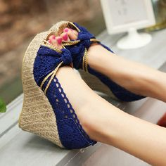 [grzxy61900382]High Braided Wedge Heel Crochet Lace Peep Toe Sandal