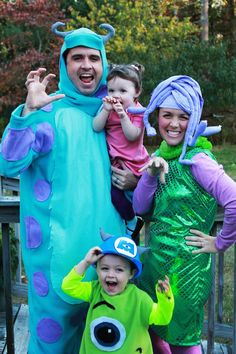 Transform your family into the characters of Monsters Inc. for Halloween.