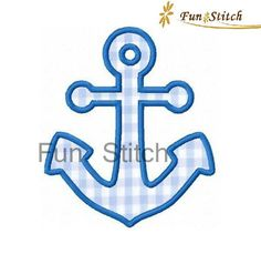 Nautica anchor applique machine embroidery design by FunStitch