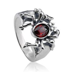 925 Sterling Silver Inlayed Gemstone Punk Spider Antique Ring Gift for Men - Zivpin