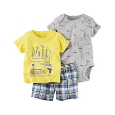 Baby Boy Carter's Print Bodysuit, Graphic Tee & Plaid Shorts Set, Size: 24 Months, Yellow