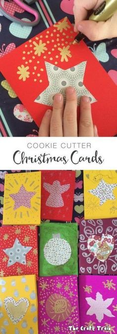 Christmas Crafts : Kid-made Cookie Cutter Christmas Cards Christmas Decorations For Kids, Photo Christmas Ornaments, Christmas Crafts For Kids To Make, Homemade Christmas Cards, Preschool Christmas, Christmas Activities, Kids Christmas, Holiday Crafts, Simple Christmas