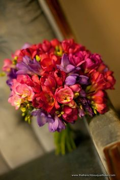 Bold & Colorful Bridal Bouquet Showcasing: Red, Hot Pink, & Purple Freesia^^^^