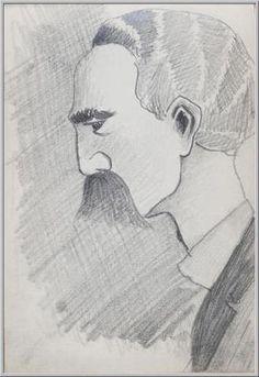 Mario Tozzi 1912: Ritratto di Professore I. Disegno matita e inchiostro - cm.11x17 - Collezione eredi Brunetti-Laderchi Bologna - Archivio n.4 - Cat.1° pagina 48.