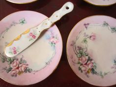 10 Pc Lot Antique Limoges Plate,Set 8 Coasters,Side,Desert Plates,ALL Pink Roses