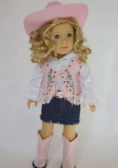 Pink Western Cowgirl Outfit For 18 Inch American Girl Dolls in Dolls & Bears, Dolls, Clothes & Accessories, Modern, American Girl Cowgirl Outfits, Cowgirl Outfit For Girl, Cowgirl Skirt, Sewing Doll Clothes, Girl Doll Clothes, Doll Clothes Patterns, Girl Dolls, Ag Dolls, American Girl Outfits