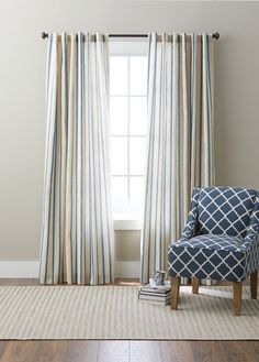 Free 2-day shipping on qualified orders over $35. Buy Better Homes and Gardens Stripe Windows Panel at Walmart.com Privacy Panels, Window Panels, Panel Curtains, Blue Striped Curtains, Family Room Decorating, Living Spaces, Living Room, Beautiful Curtains, Better Homes And Gardens