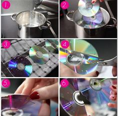 Boil water and put in the cds. Then the two layers will seperate. You can cut up the peieces and put them on a shirt or a canvas.