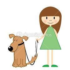 Resultado de imagen de dibujos de niña paseando perro ...