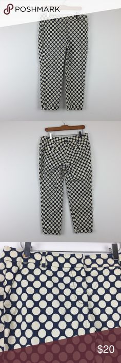 J Crew Cafe Capri 8 Blue White Polka Dot J Crew Womens Cafe Capri Sz 8 Blue Creme Polka Dot Casual Career L21 Description  Material: 98% cotton, 2% spandex Size: 8  Measurements (flat laid in inches):  Waist: 16.5 Rise: 9 Inseam: 25.5 **All our products come from a clean and smoke-free household.** J. Crew Pants Capris