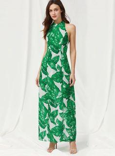 Halter off Shoulder Sleeveless Green Leaf Maxi Dress