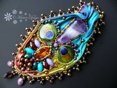 Bead embroidered Brooch Amethyst Shibori silk ribbon Ooak Beadwork seed beaded jewelry