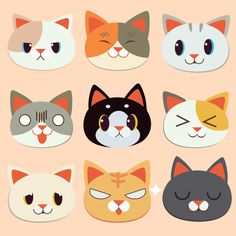 Cats by Patricia Cat Face Drawing, Stickers Kawaii, Emotion Faces, Cute Cat Illustration, Cat Icon, Cat Photography, Photography Aesthetic, Cat Crafts, Cat Art