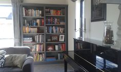 Deep Grey Border/Chicago Grey Interior Painted Bookcase.