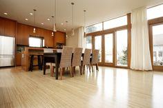 Bamboo Hardwood Kitchen Floor with darker wood cabinents