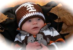 love the football!  and the baby is cute!  SALE crochet baby beanie FOOTBALL hat  premie newborn 0-3 month infant - white pink or blue boy or girl photography photo prop. $9.95, via Etsy.