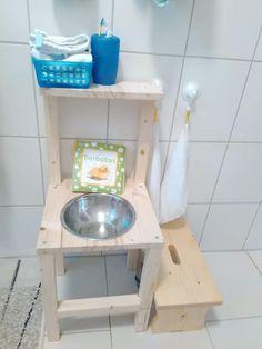 Kinderwaschenbecken bzw. Waschtisch nach Montessori-Art selber bauen, günstig und aus Holz, komplette Anleitung inkl. Material!