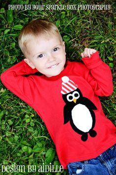 Winter Boys Penguin Shirt Christmas Tee Personalized Add Letter 18m 2T 4T 6 8 Holiday Valentines Day Applique on Etsy, $30.00