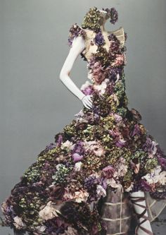 Nude silk dress embroidered with silk flowers and fresh flowers, from Sarabande, spring 2007