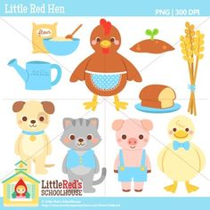 Clip Art - Little Red Hen - Fairy Tale Clipart $