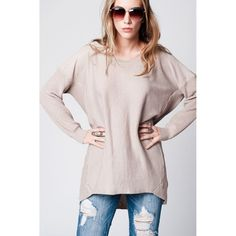 Beige Oversize Jersey with Ribbed Back and Asymmetric Hem