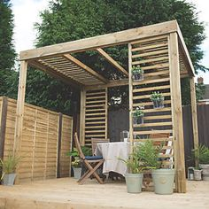 Forest Dining Pergola 3.03 x 2.44 x 2.80m Natural Timber | Pergolas | Screwfix.com Timber Pergola, Wooden Pergola, Outdoor Pergola, Diy Pergola, Pergola Ideas, Retractable Pergola, Pergola Garden, Pergola Lighting, Pergola With Roof