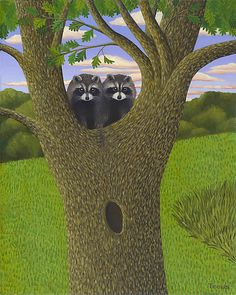 Raccoons in Tree by Jane Troup. A giclee print of an original oil painting on archival smooth paper. Numbered and signed below the image. Limited edition of Paper size is x Dimensions refer to image size. Country Scenes, Graphic Quotes, Artist Painting, Art Images, Raccoons, Illusions, Giclee Print, 3 D, Original Art