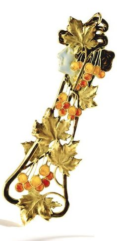 Lalique signed 1896-1900 'Autumn' Pendant: gold & enamel - brown, orange, pink, gold w/woman's head in profile, maker's mark, FR assay mark: includes fitted Lalique Case w/ a complementary falling leaves design