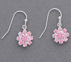 Simply Whispers jewelry pierced earrings silver French hook pink crystal and crystal flower drop