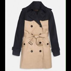 *NWT* Authentic Coach Colorblock Trench Coat *Brand New with Tags* Authentic Coach Colorblock Trench Coat. Size XS. Khaki and Black. Double breasted button up. Belted waist. 2 front button down flap pockets Shell - 68% Cotton 32% Polyester Lining - 100% Polyester. Coach Jackets & Coats Trench Coats