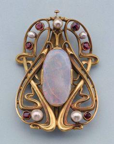"opaldome: "" Edward Colonna, Buckle, c.1900 France Gold, pearls, opal and garnets """