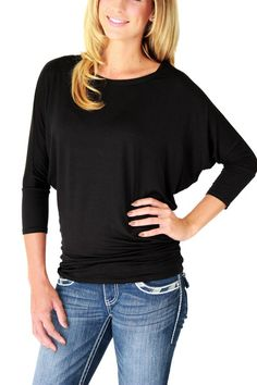 Black 3/4 Sleeve Dolman Tunic   Get ready for the cooler weather with this luxurious dolman tunic. Silky fabric drapes comfortably and looks amazing!