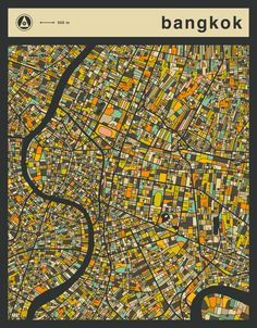 Poster   BANGKOK MAP von Jazzberry Blue   more posters at http://moreposter.de