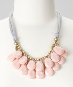 Take a look at this Gray & Pink Teardrop Bib Necklace on zulily today!