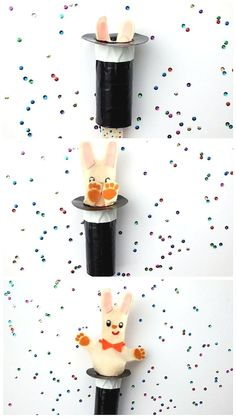 DIY Rabbit In The Hat Pop-Up Puppet ⋆ Handmade Charlotte post_tags] Magic Theme, Magic Party, Diy Origami, Fun Crafts For Kids, Diy For Kids, Diy Craft Projects, Projects For Kids, Circus Crafts, Paint Stirrers