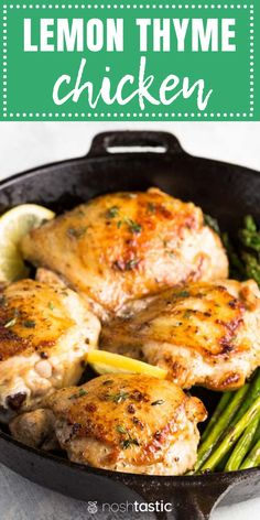 Lemon Thyme Chicken with asparagus - (keto, low carb, paleo, Lemon Thyme Recipes, Lemon Thyme Chicken, Chicken Asparagus, Asparagus Recipe, Vegan Chicken Recipes, Whole 30 Chicken Recipes, Gluten Free Chicken, Keto Chicken, Rosted Chicken