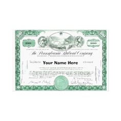 Pennsylvania Railroad CUSTOM Stock Certificate Stretched Canvas Prints ; $113.90 -  #stanrail - Zazzle's gloss canvas is made from an additive-free cotton-poly blend and features a special ink-receptive coating that protects the printed surface from cracking when stretched. Made with a tight weave ideal for any photography or fine art, our instant-dry gloss canvas produces prints that are fade-resistant for 75 years or more. @stanrails_store