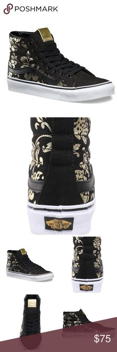 Vans Black & Gold Duke High Slim NO TRADES. NWT New in box, black and gold high top slims in size 5 women's. Vans Shoes Sneakers