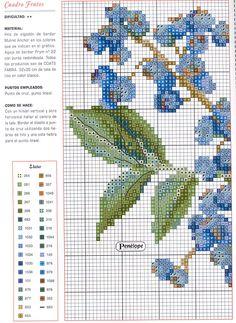 Blueberries cross stitch pattern and color chart (page 1). See page 2 for continued pattern.