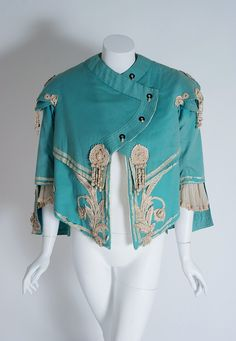 1890's Victorian Antique Tiffany-Blue Applique Wool Bell-Sleeve Cropped Jacket image 2
