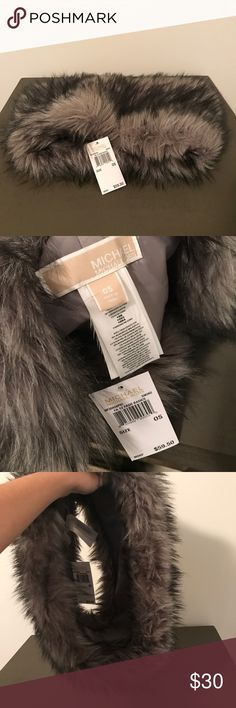 Michal Kors Faux Fur Scarf Circular Cowl Infinity Scarf. Smoke gray grey faux fur neck warmer. New with tags. MICHAEL Michael Kors Accessories Scarves & Wraps