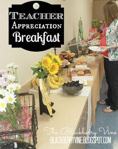 Teacher Appreciation Breakfast Idea