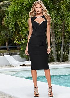 Black sandals with gold detail dress