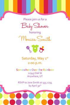 Custom Rainbow Baby Shower Invitation by 3LittleMonkeysStudio, $15.00