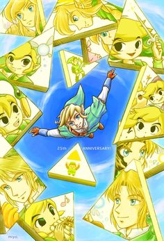 This is an amazing fan art, I would have never thought to put the Links in a piece of Triforce. Brilliant.